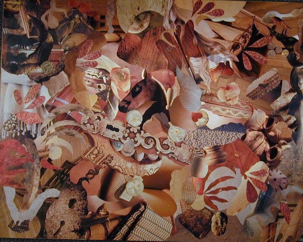 Collage, un poulain entouré de matières nobles