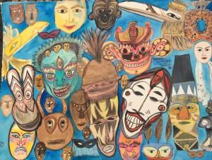 masques de divers pays collés