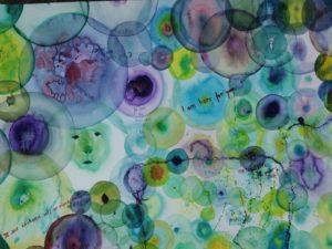 Aquarelle bleue mauve et verte
