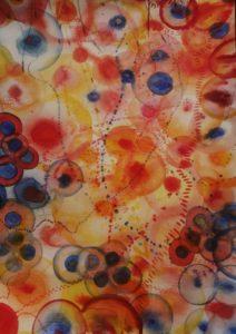 aqaurelle rouge jaune et bleue